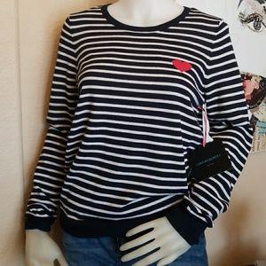 NWT Cynthia Rowley 100% Wool Navy Stripes Heart